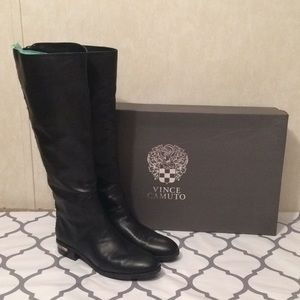 Vince Camuto tall black leather boots like new